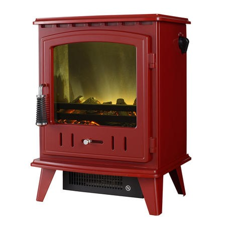 Stove Electric Fire in Red with a LED Flame Effect