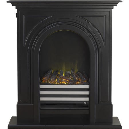Adam Durham Black Cast Effect Electric LED Fireplace Suite