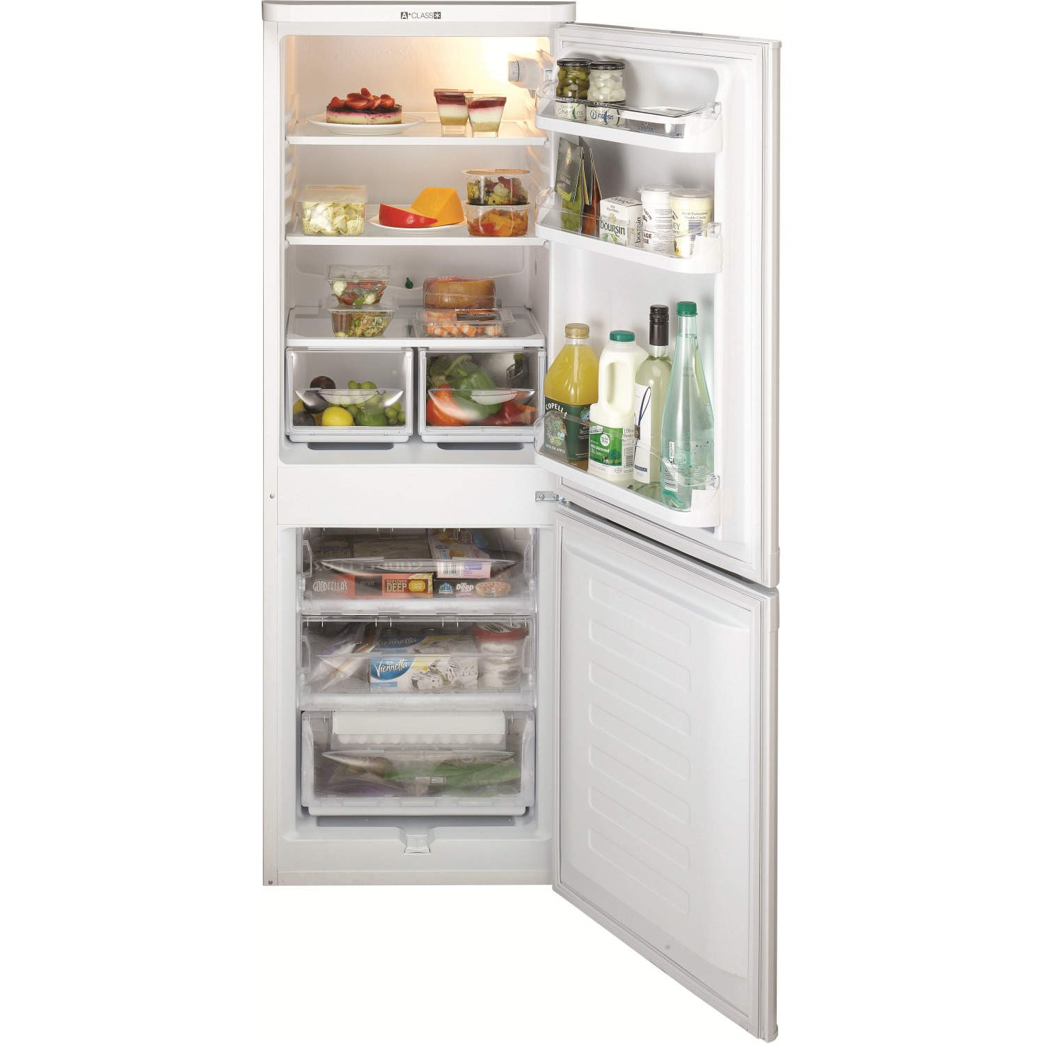 Indesit Ncaa55 157x55cm Freestanding Fridge Freezer White Appliances Direct