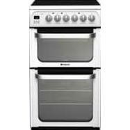 HUE53PS Hotpoint HUE53PS 50cm Wide White Double Oven Electric Cooker With Ceramic Hob