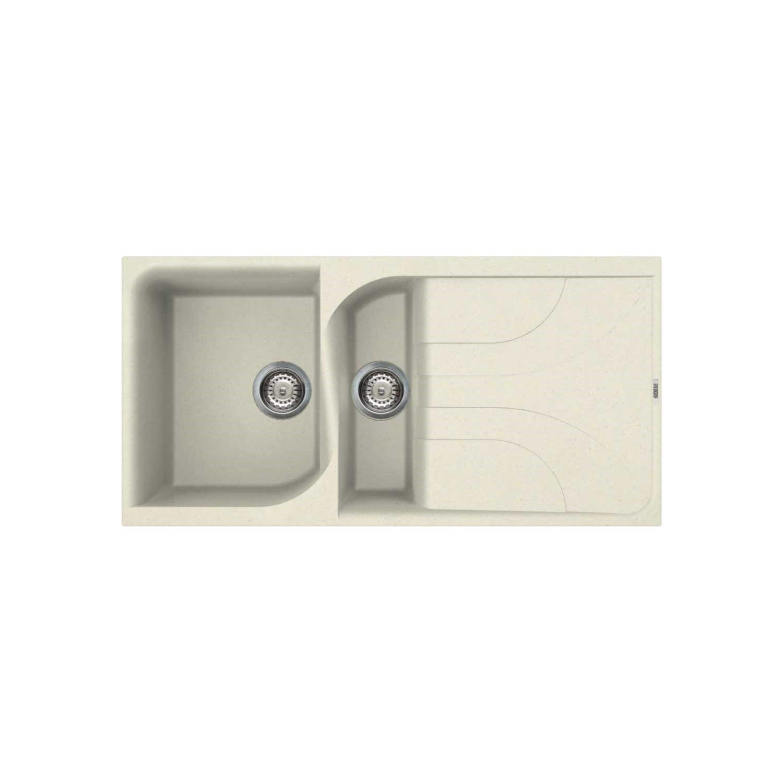 Reginox EGO475 C 1.5 Bowl Regi Granite Composite Sink With Reversible  Drainer Granitetek Cream