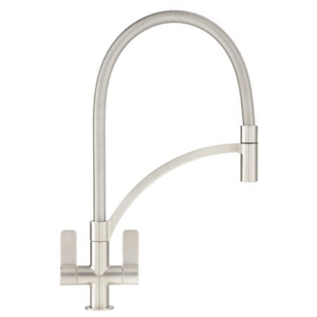 Franke Silk Steel Twin Lever Pull Out Kitchen Tap - Wave