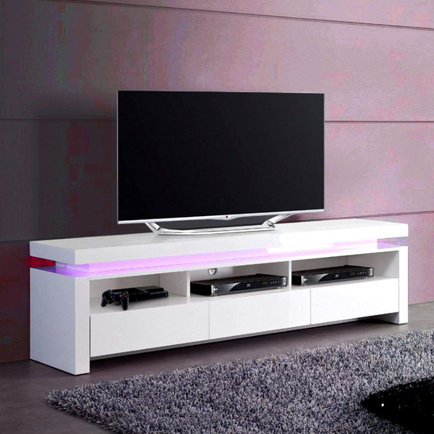 Evoque Led Tv Unit In White High Gloss With 3 Touch Open