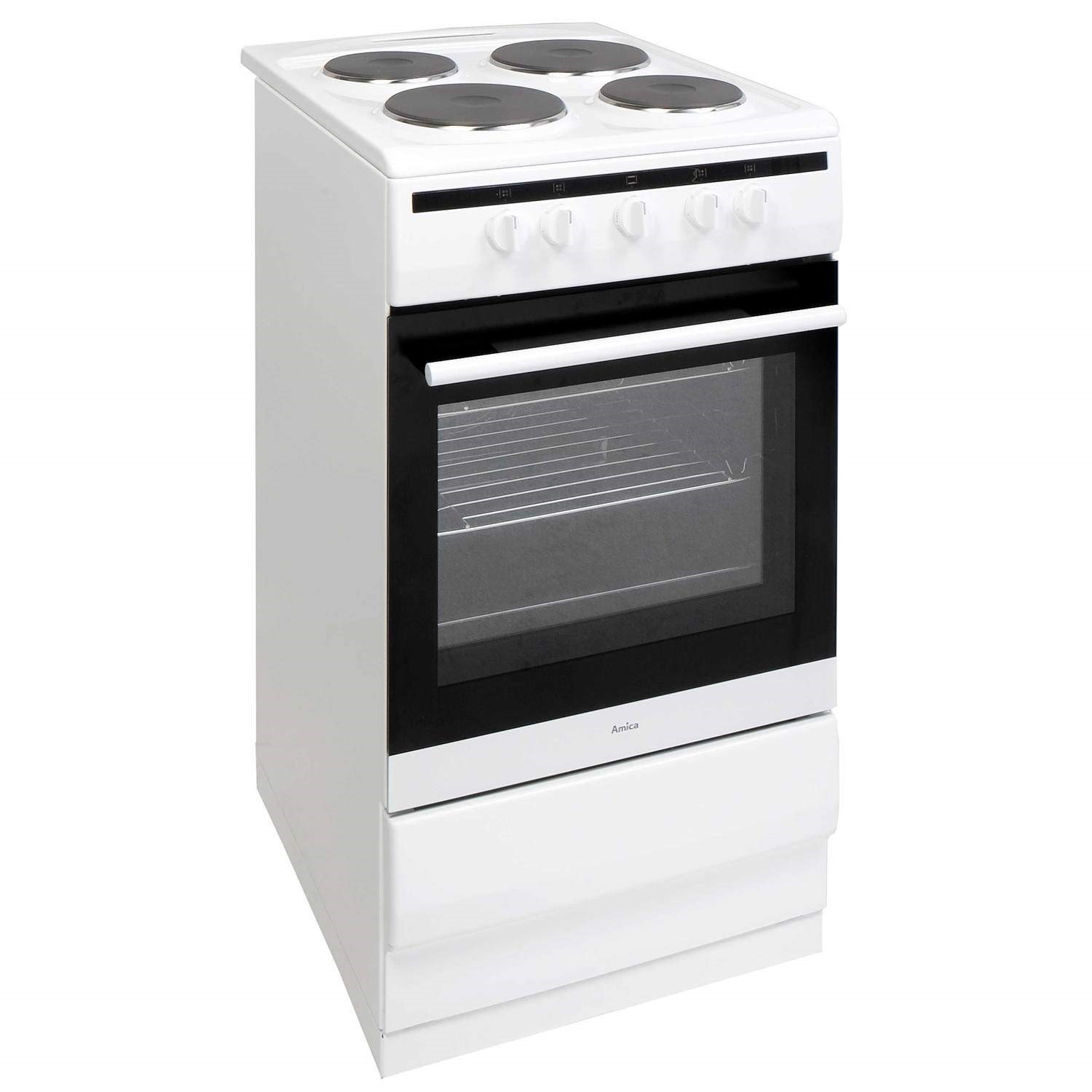 Amazing Single Oven Electric Cooker Part - 3: Amica 508EE1W 508EE1W 508EE1W 508EE1W 50cm Single Oven Electric Cooker With  Sealed Plate Hob - White