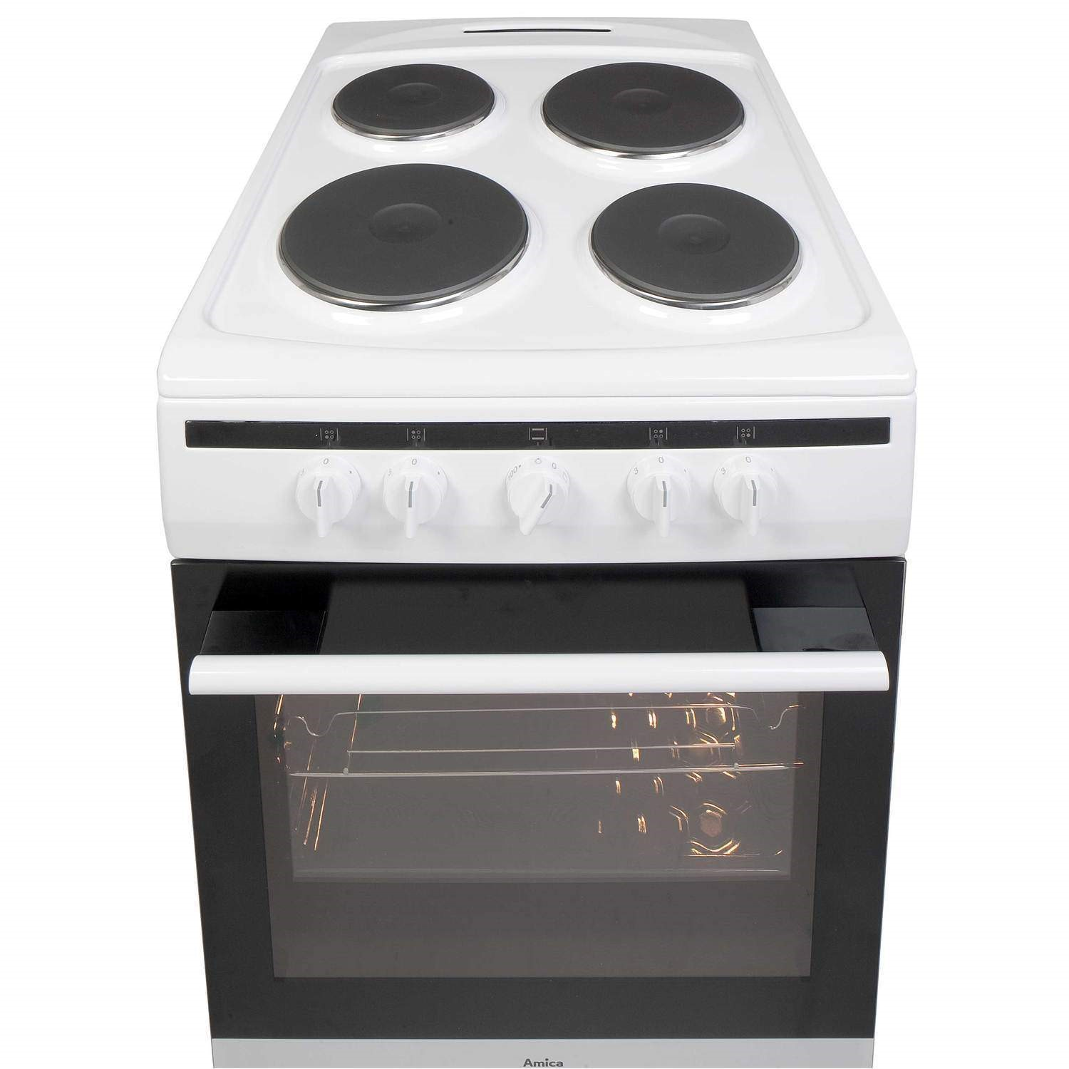 Single Oven Electric Cooker Part - 41: Amica 508EE1W 508EE1W 508EE1W 508EE1W 50cm Single Oven Electric Cooker With  Sealed Plate Hob - White