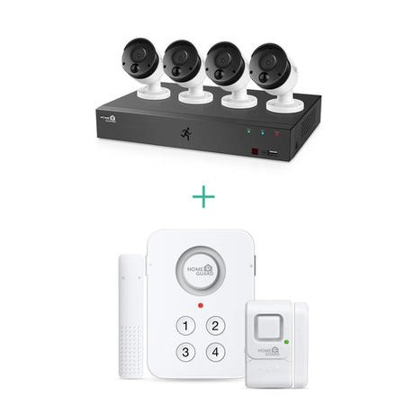 HomeGuard 4 Camera 1080p HD CCTV System with Wireless Home Alarm Kit
