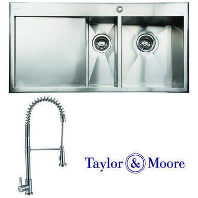 Taylor & Moore George Inset Right Hand Drainer 1.5 Bowl Stainless Steel Sink & Royal Stainless Tap Pack