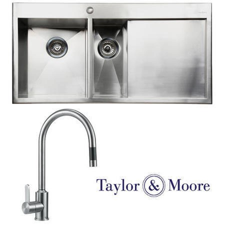 Taylor & Moore George Inset Right Hand Drainer 1.5 Bowl Stainless Steel Sink & Eden Chrome Tap Pack