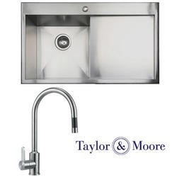 Taylor & Moore Charles Inset Right Hand Drainer 1 Bowl Stainless Steel Sink & Eden Stainless Tap Pack