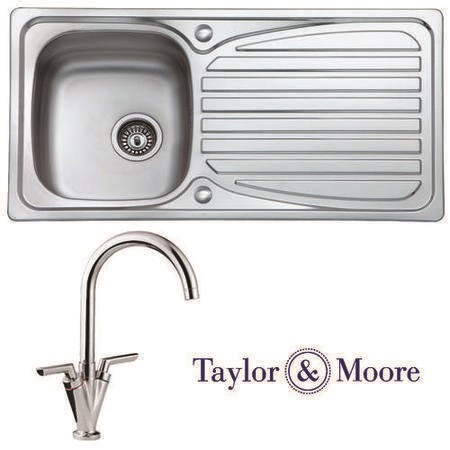 Taylor & Moore Eyre Reversible 1 Bowl Stainless Steel Sink & Malvern Chrome Tap Pack