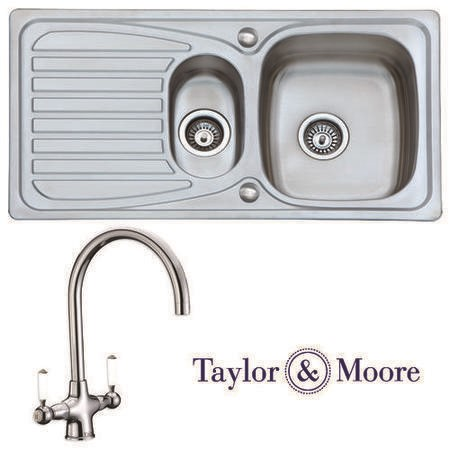 Taylor & Moore Ness Reversible 1.5 Bowl Stainless Steel Sink & Durham Chrome Tap Pack