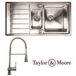 Taylor & Moore Huron Inset reversible Drainer 1.5 Bowl Stainless Steel Sink & Winchester Chrome Tap Pack