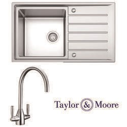 Taylor & Moore Como Inset Reversible Drainer 1.5 Bowl Stainless Steel Sink & Warwick Chrome Tap Pack