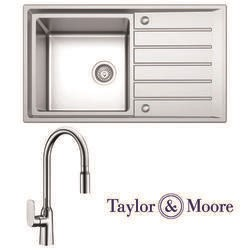 Taylor & Moore Como Inset Reversible Drainer 1.5 Bowl Stainless Steel Sink & Windermere Chrome Tap Pack