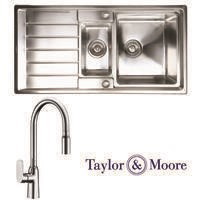 Taylor & Moore Huron Inset reversible Drainer 1.5 Bowl Stainless Steel Sink & Windermere Chrome Tap Pack