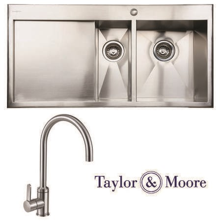 Taylor & Moore George Inset Left Hand Drainer 1.5 Bowl Stainless Steel Sink & Canterbury Chrome Tap Pack