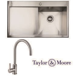 Taylor & Moore Charles Inset Left Hand Drainer 1 Bowl Stainless Steel Sink & Canterbury Stainless Tap Pack