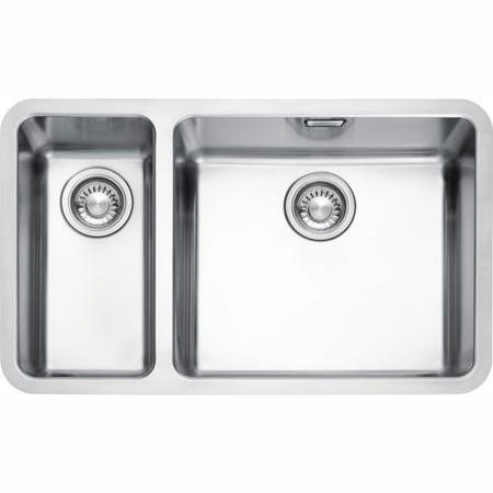 franke kbx 160 kubus 15 bowl undermount stainless steel sink with left hand small bowl - Franke Sink