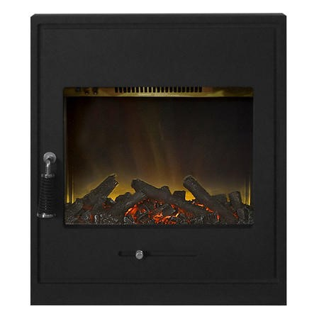 Inset Electric Stove Fire In Black Cast Finish With Led