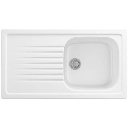 Single Bowl Inset White Ceramic Kitchen Sink with Reversible Drainer - Franke Elba