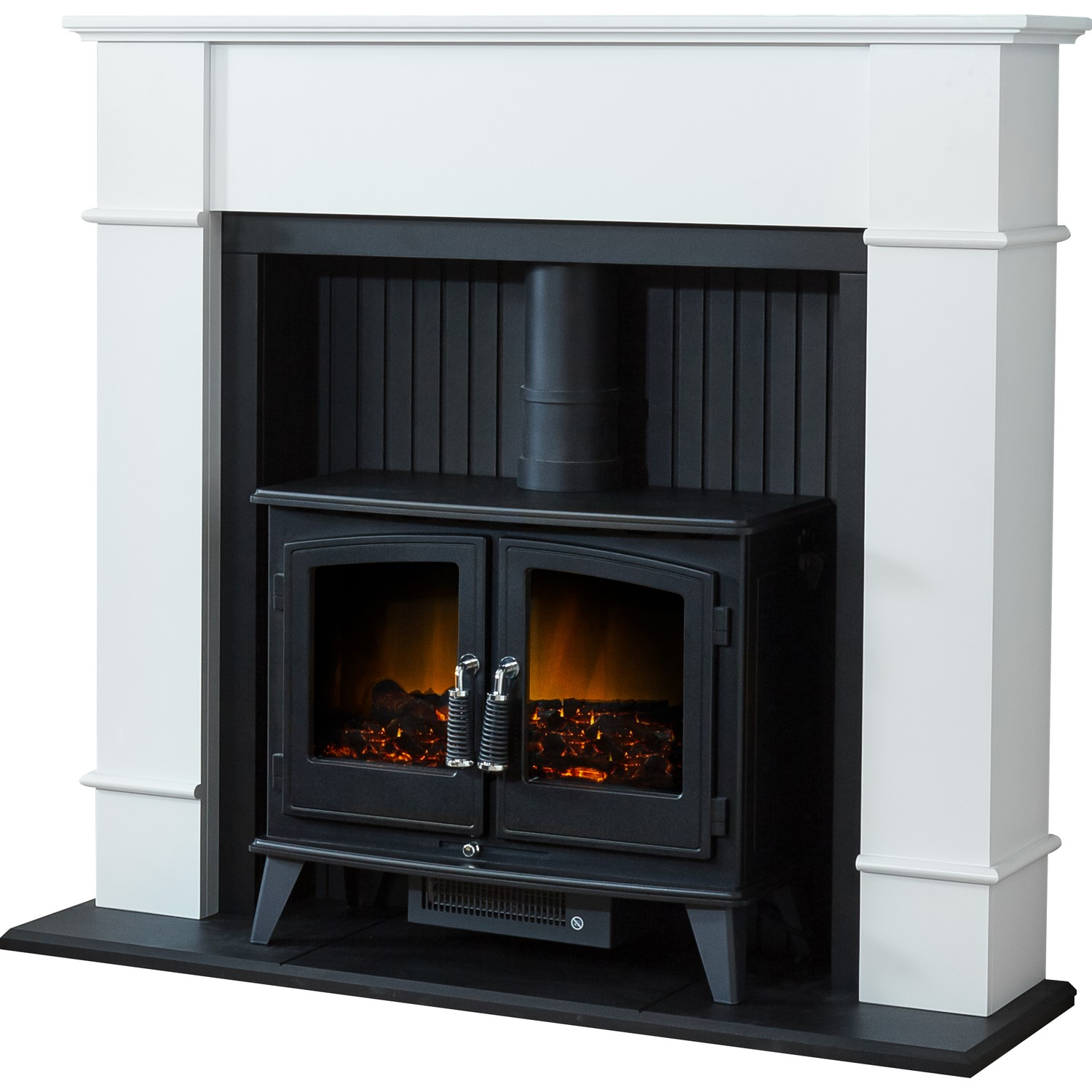 Adam Oxford White Fireplace Suite With Black Double Door Electric