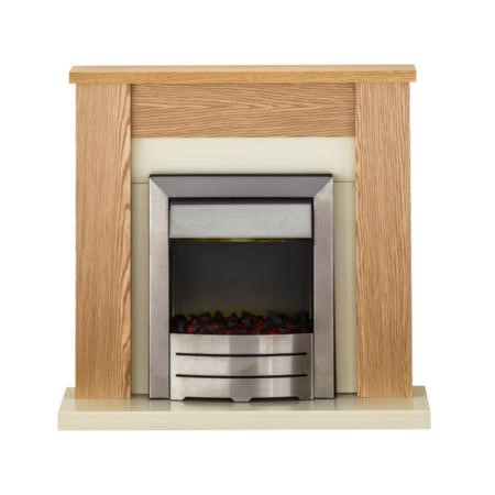 Adam Solus Modern Oak Fireplace Mantel with Electric Insert in Chrome