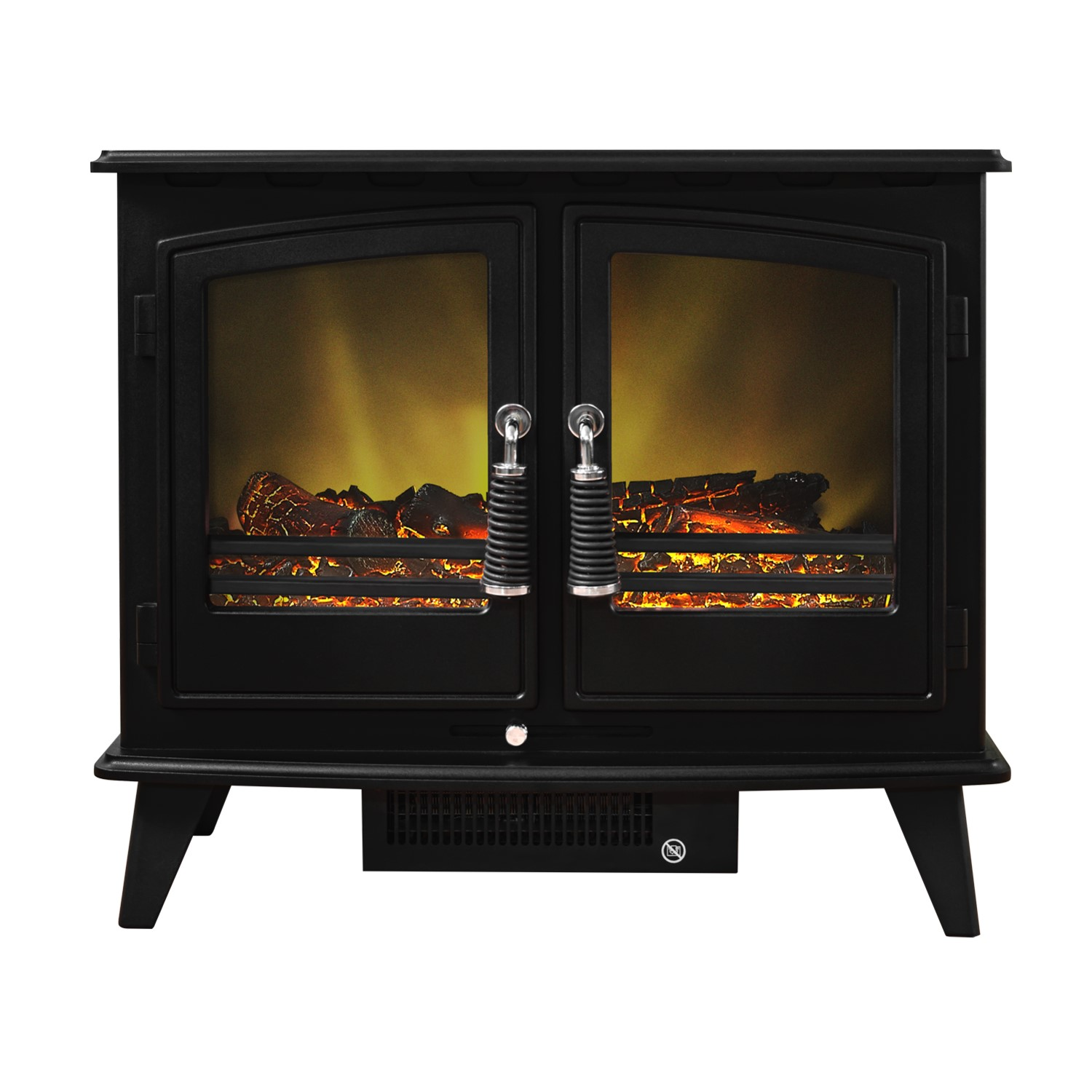 adam woodhouse black electric fireplace heater stove with double rh appliancesdirect co uk White Faux Fireplace Flame Electric Space Heaters