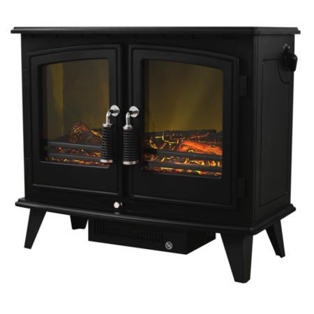 Adam Woodhouse Black Electric Fireplace Heater Stove with Double Doors & Log Effect Fuel Bed