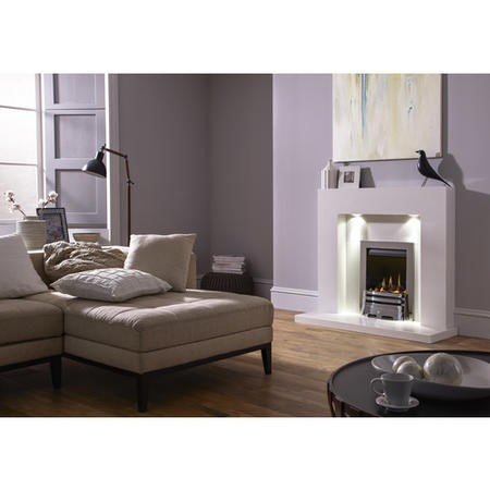 Adam Cuba Sparkly White Marble Fireplace Mantel Surround with Lights