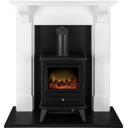 Adam Harrogate White and Black Suite with Hudson Electric Stove in Black
