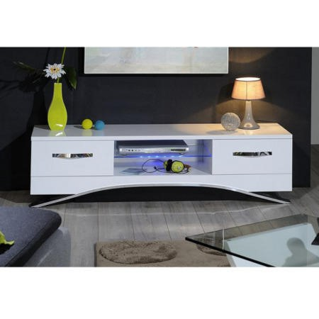Sciae Smooth Modern TV Unit Stand with Drawers - White Gloss