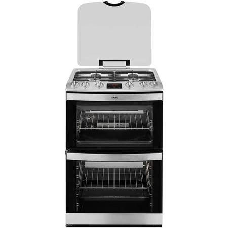 AEG 17166GM-MN 60cm Double Oven Gas Cooker Stainless Steel With Lid