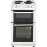 Belling FS50EFDO Double Oven Electric Cooker With Solid Plate Hob White Best Price, Cheapest Prices
