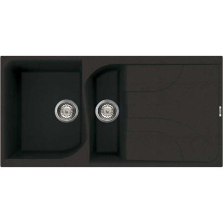 Reginox EGO475-B 1.5 Bowl Regi-Granite Composite Sink With Reversible Drainer Metaltek Black