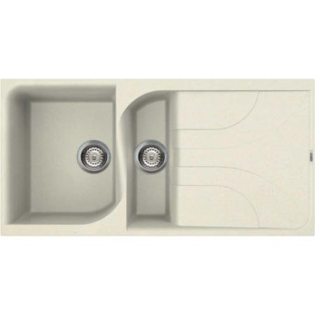 Reginox EGO475-C 1.5 Bowl Regi-Granite Composite Sink With Reversible Drainer Granitetek Cream