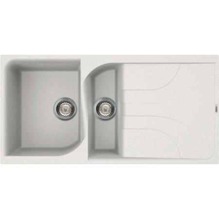 Reginox EGO475-W 1.5 Bowl Regi-Granite Composite Sink With Reversible Drainer Granitetek White
