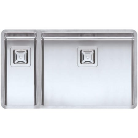 Reginox TEXAS18X40+50X40 Large 1.5 Bowl Integrated Stainless Steel Sink With Square Basket Strainer