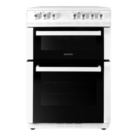ElectriQ 60cm Double Oven Electric Cooker With Ceramic Hob - White