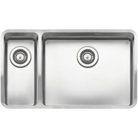 Reginox OHIO18X40+50X40-L Large 1.5 Bowl Integrated Stainless Steel Sink - Left Hand Small Bowl