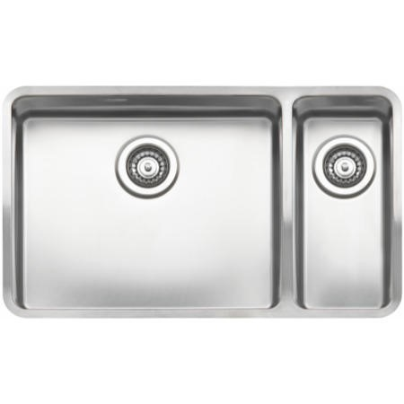 Reginox OHIO50X40+18X40-L Large 1.5 Bowl Integrated Stainless Steel Sink - Right Hand Main Bowl