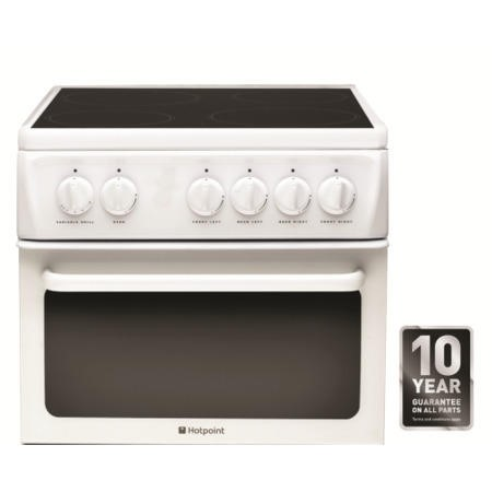 Hotpoint HAE51PS 50cm Wide Double Cavity Electric Cooker With Ceramic Hob White