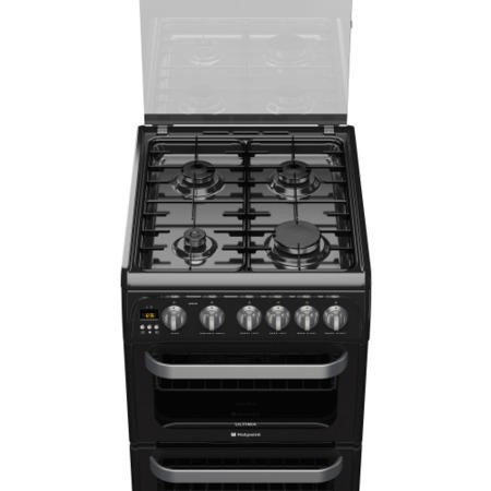 Hotpoint HUG52K Ultima 50cm Double Oven Gas Cooker in Black
