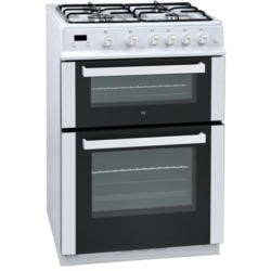 iQ 60cm Double Oven Gas Cooker - White