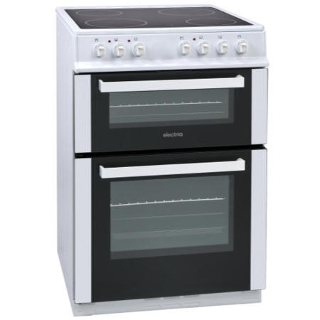 GRADE A2  - ElectriQ 60cm Double Oven Electric Cooker With Ceramic Hob - White