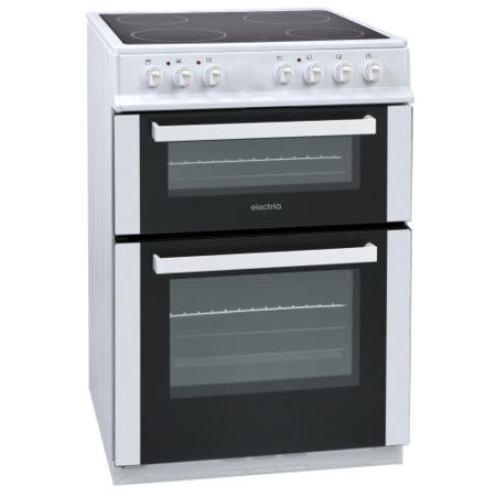 ElectriQ 60cm Electric Twin Cavity Cooker With Ceramic Hob - White