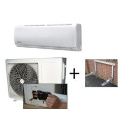 ElectrIQ 12000 BTU  Quick Connector Inverter Wall Split Air Conditioner and Condenser Wall Mounting Bracket Bundle
