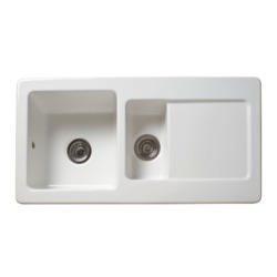 Reginox RL501CW 1.5 Bowl Reversible Inset Ceramic Sink White