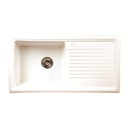GRADE A2 - Reginox RL304CW 1.0 Bowl Reversible Inset Ceramic Kitchen Sink White