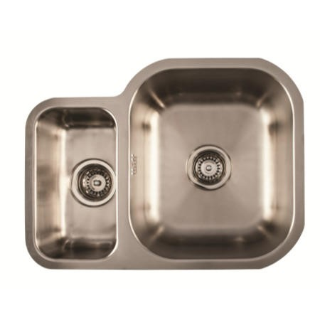 1810 Sink Company ED/5845/U/MS BBR/033 ETRODUO 589/450U BBR  1.5 Bowl Undermount Stainless Steel Sink Left Hand Small Bow