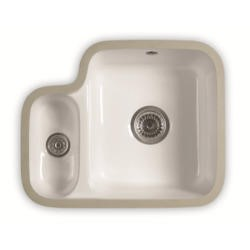 1810 Sink Company ED/3413/U/C/091-WH ETRODUO 343/136UC  1.5 Bowl Undermount Ceramic Sink White Left Hand Small Bowl